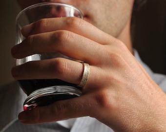 Men's Wedding Band, Wide Gold Ring, Yellow Gold Ring, Textured Gold Band, Hammered Ring, Wood Ring, Handmade Wedding Ring, Tree Ring.