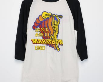 ac6b8836f99238 Rock N Roll Marathon Shirt Vintage Tshirt 1980 raglan Jersey Mahagoni Rush  Mutter feinsten Humble Pie Engel Frank Marino Rock Blues