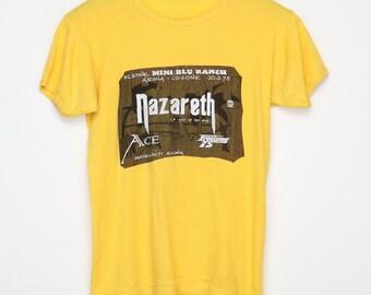 5b57f57ae76f02 Nazareth Shirt Vintage tshirt 1975 Mini Blu Ranch Festival tee 1970s Ace  Hair Of The Dog Hard Rock and Roll Band Pop Music Heavy Metal