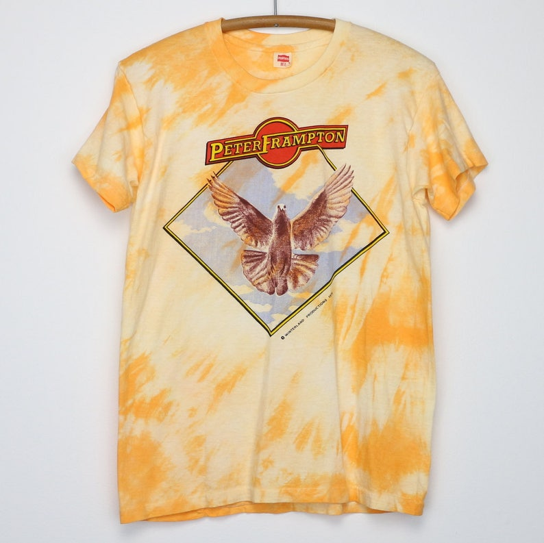 Peter Frampton Shirt Vintage tshirt 1976 Frampton Comes Alive Tie Dye Tee  1970s Rock And Roll Band The Herd Humble Pie