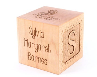 personalized GIRL BIRTH BLOCK - keepsake wooden block for new baby girl, custom engraved on all six sides, handmade with natural hardwood