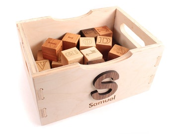 wood blocks with crate bundle - 26 picture alphabet organic wood blocks with wood toy crate for storage - toddler or new baby keepsake gift