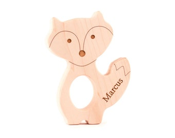 personalized fox wood TEETHER - a natural wooden teething toy for boy or  girl c9d4558481