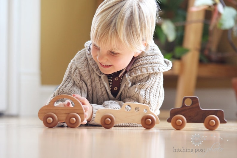 and love bug an all natural keepsake gift set for baby and toddler three wooden TOY CARS racer organically finished hardwood toy truck
