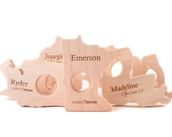 US STATE wood teether toy - unique new baby gift, teething toy and nursery decor for baby boy or girl, choose from 15 states