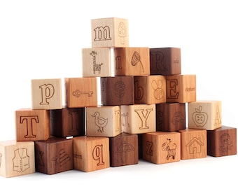 26-piece PICTURE ALPHABET block set - natural wooden toy blocks with letters, pictures, words -  educational first birthday or toddler gift