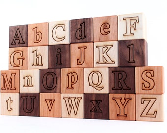 26-piece wooden ALPHABET BLOCK set - natural hardwood letter blocks, an educational and eco-friendly classic gift for boy or girl