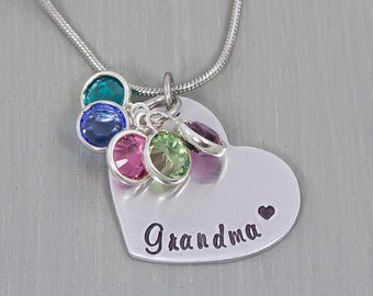 Hand Stamped Necklace - Gift for Grandmother - Personalized Jewelry - Personalized Necklace - Birthstone Heart Necklace - Mothers Day Gift