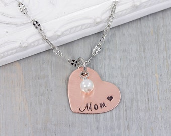 Personalized Mom Necklace - Mothers Necklace - Hand Stamped Jewelry - Mothers Day Gift for Mom - Personalized Heart Necklace - Gift for Her