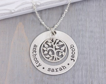 STERLING SILVER Hand Stamped Jewelry - Personalized Family Tree Necklace - Personalized Jewelry for Her - Personalized Name Necklace