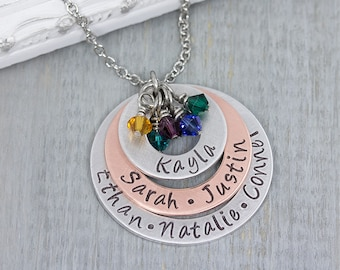 Hand Stamped Jewelry - Personalized Necklace - Mom Necklace - Personalized Jewelry - Family Necklace - Grandma Gift - Mothers Day Gift