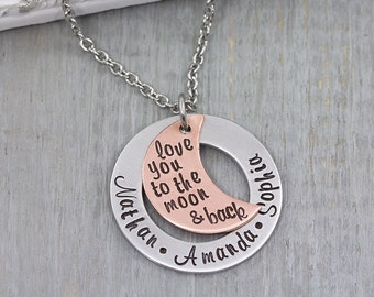Personalized Jewelry - Hand Stamped Necklace - I love you to the moon and back necklace - Personalized Gift for Mom - Gift for Her