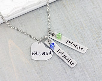 Personalized Necklace - Hand Stamped Jewelry - Grandmother Gift - Mommy Necklace - Personalized Mom Necklace - Gift for Her