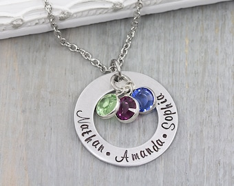 Personalized Jewelry - Hand Stamped Necklace - Personalized Birthstone Necklace - Personalized Name Necklace - Mom Jewelry - Gift for Mom
