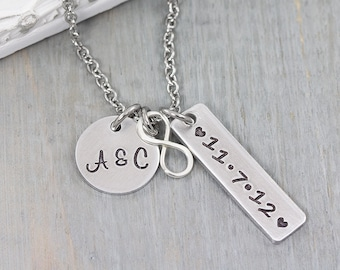 Personalized Infinity Charm Necklace - Hand Stamped Jewelry - Couples Necklace - Personalized Wedding Gift - Couples Gift for Her
