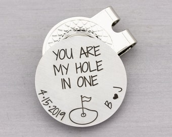 Personalized Golf Gift for Him - Custom Golf Ball Marker with Magnetic Hat Clip - Engraved Golfer Gift for Him - Anniversary Gift for Him