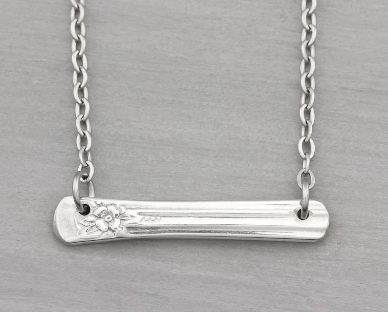 Silverware Jewelry  Spoon Necklace Jubilee  Bar Necklace image 0