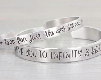 Personalized Cuff Bracelet - Custom Cuff Bracelet - Custom Gift - Personalized Jewelry - Hand Stamped Bracelet - Gift for Her