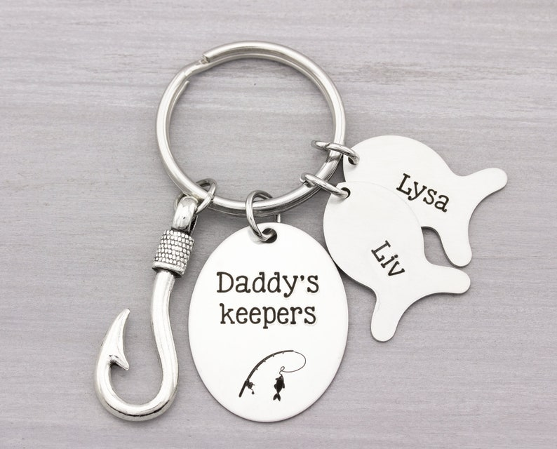 Fish Hook Key Chain  Personalized Keychain for him  image 0
