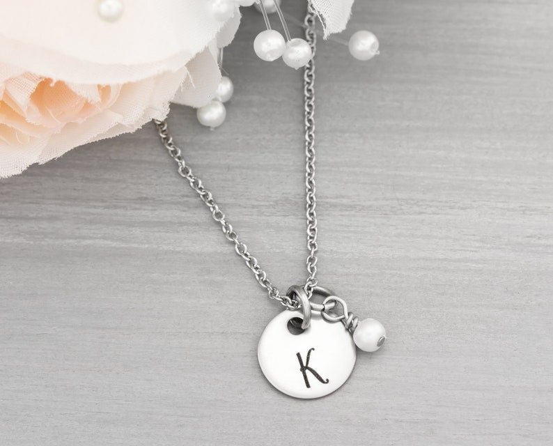 Engraved Initial Necklace  Bridesmaid Gifts  Wedding Jewelry image 0
