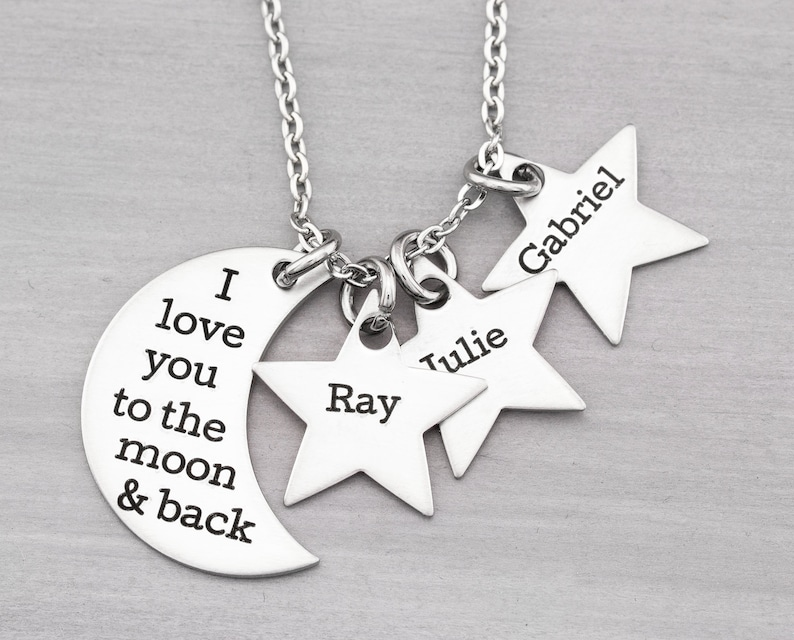 To The Moon And Back Personalized Necklace  Mothers Necklace image 0