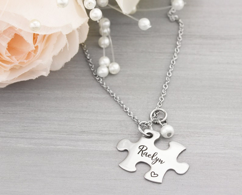Puzzle Piece Necklace Personalized  Bridesmaid Gifts  image 0