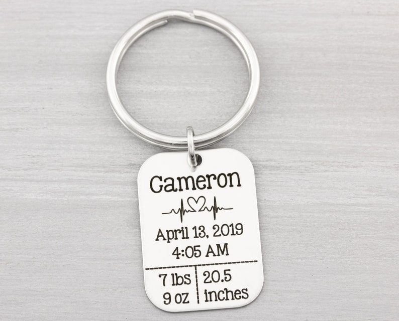 New Mom Gift  Baby Stats Keychain  First Time Mom Gift  New image 0
