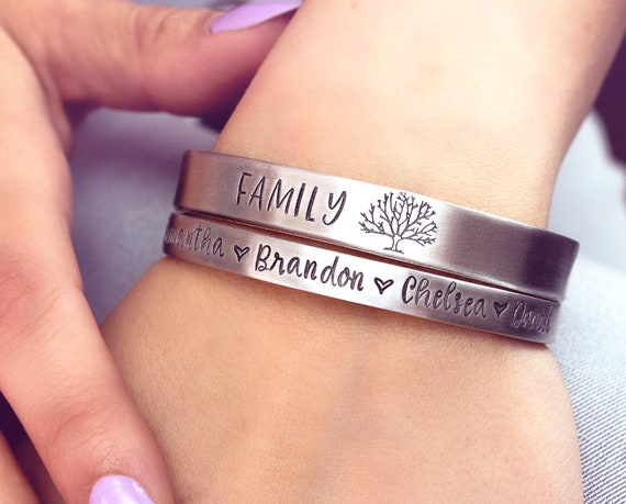 dbef2877c470f Personalized Hand Stamped Cuff Bracelet - Family Tree Name Bracelet -  Mothers Bracelet - Gift for Mom