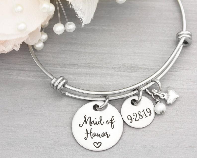 Maid Of Honor Personalized Bangle Bracelet  Wedding Jewelry image 0