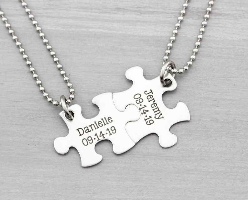 Personalized Puzzle Necklace  His and Her Puzzle Piece image 0