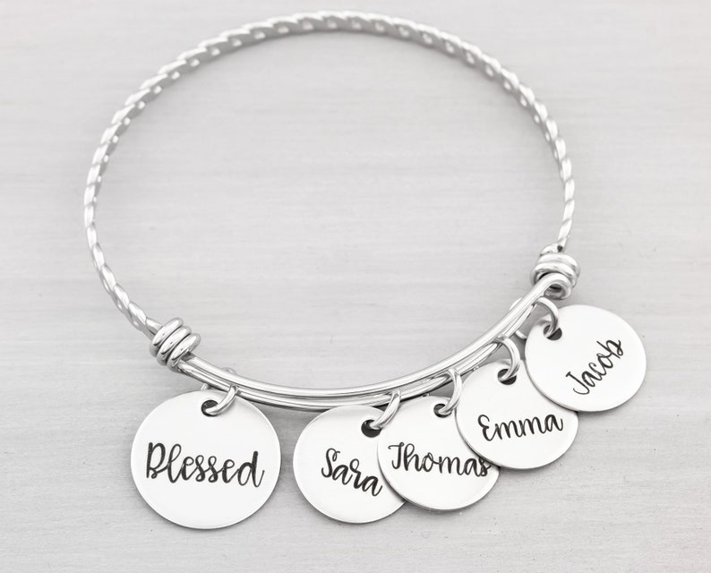 Personalized Bangle Bracelet  Custom Jewelry for Her  image 0