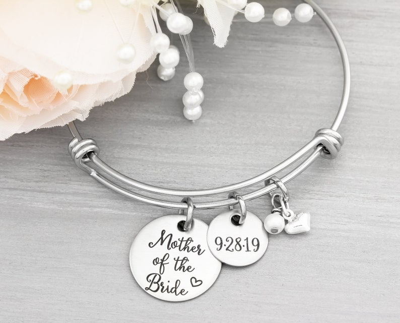 Mother Of The Bride Gift  Personalized Bangle Bracelet  image 0