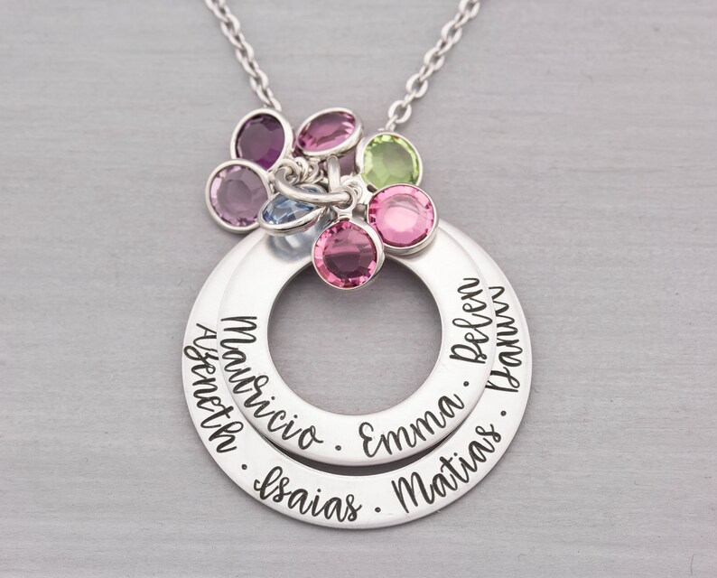 Personalized Necklace  Mom Necklace with Kids Names  Custom image 0