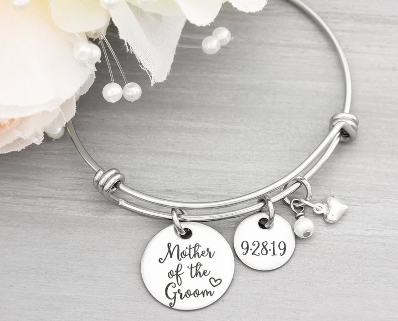Mother Of The Groom Personalized Bangle Bracelet  Wedding image 0