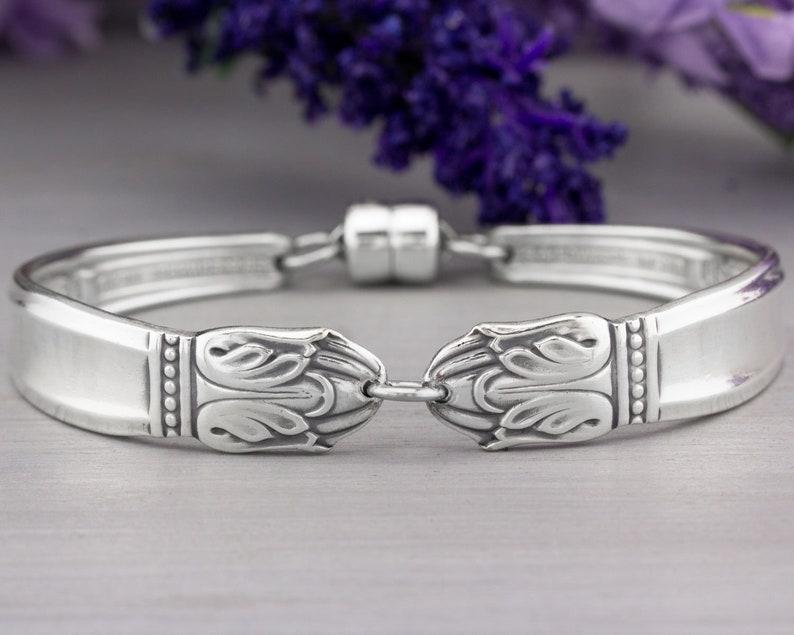 Silverware Jewelry Danish Princess 1938 Spoon Bracelet Mothers image 0
