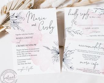 Watercolor Flower Wedding Invitation - Invite and RSVP Card Template - Editable Invite - Pink Peach Gray - Romantic Wedding