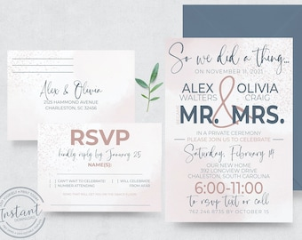 Reception Only Wedding Invitation - Invite and RSVP Card Template - So We Did A Thing - Editable Invite