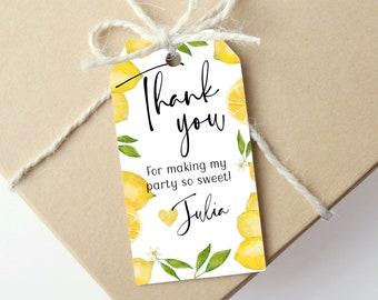 Editable Lemon Birthday Party Gift Tag - Printable Favor Tag - Thank You Tag