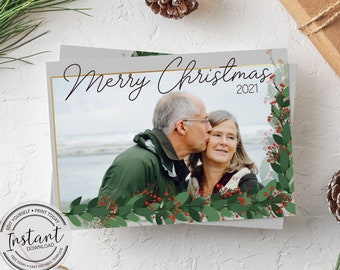 Editable Photo Christmas Card Template - Red and Green Card - Traditional Holiday Card - Edit Yourself