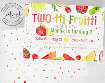 Two-tti Fruitti 2nd Birthday Invitation Template - Editable Invite - Print at Home - Twotti Fruitti Fruit Birthday Party