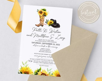 Sunflower Western Wedding Invitation - Cowboy Cowgirl Boots - Wedding Invitation Template - Printable Invite