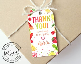 Editable Two-tti Fruitti Gift Tag - Printable Favor Tag - 2nd Birthday Party - Thank You Tag - Tutti Fruity Party