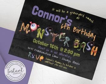 Monster Bash Birthday Invitation - Halloween Party - Editable Invite