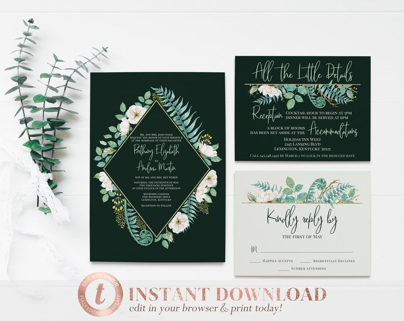 Emerald Wedding Invitation Package