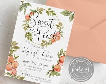 Sweet as a Peach First Birthday Invitation - Peaches 1st Birthday - Editable Invite