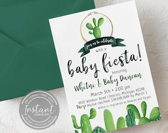Editable Fiesta Baby Shower Invitation - Cactus Theme - Fiesta Party - DIY Printable Invite