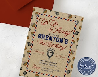 Up Up and Away Birthday Invitation - Hot Air Balloon Invitation - Vintage Birthday Party - Birthday Invitation Template - Editable Invite