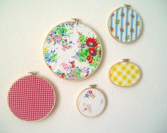 Vintage Upcycled Fabric Wall Art- Embroidery Hoop Frame- Set of Five- Retro Red, Blue, Sunny Yellow, Grass Green, Pink