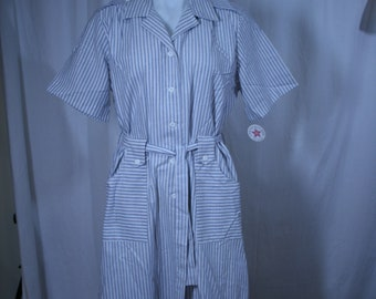 CAROLINE MAID Vintage Dress size 14 new with tags old Stock 1970s Made in USA 70s oxford stripe