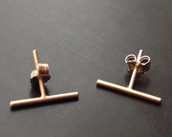 Gold Bar Earrings, Gold Line Earrings, Geomentric Studs, Stud Earrings, Minimalist Jewelry, Parallel Line, Sterling Silver, Bar Studs, Post